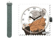 S.T.A.M.P.S. Stamps Uhr Motiv DOWNTIME + Armband WOOL GREY (Wolle/Leder)