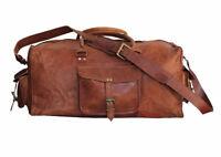 "30"" Vintage Retro Men Genuine Strong Leather travel duffle weekend bag luggage"