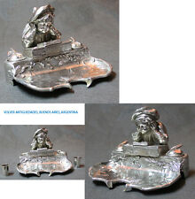 Funny old metal silver plated boy reading a book inkwell 19 x 19 x 15 FREE SHIPP