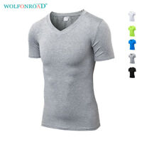 V-Neck Mens T-Shirts Fitness Compression Shirts Base Layer Bodybuilding Gym Tops