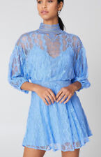 Free People OB750824 Bittersweet 3/4 Length Sleeve Mini Lace Dress Blue Size 6