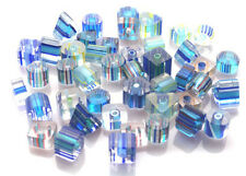 BEAUTIFUL BLUE HAND BLOWN CANE GLASS BEADS - YOU GET 25 BEADS - FREE FAST P&P
