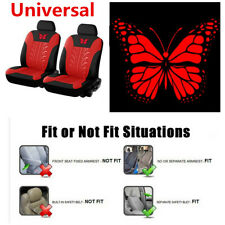 4pcs Red Butterfly-Pattern Embroidery Universal Car Seat Cover For 2 Front Seats