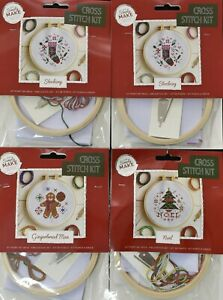 Simply Make Cross Stitch Kit - Gingerbread, Noel & Stocking