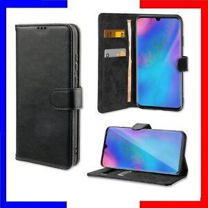 Coque portefeuille housse de protection Noir Sony Samsung Huawei Xiaomi iPhone