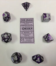 Chessex Polyhedral 7-Die Gemini Dice Set  Purple Steel with White CHX 26432
