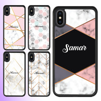 For iPhone 12 Pro Max 11 XS Case Marble I Personalised Text Initial Custom Name