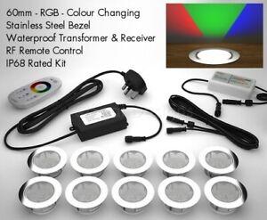 10 X 60mm LED Deck/decking Lights Multicolour RGB Colour Changing Kitchen Plinth