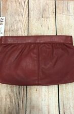 Women's Retro Vintage Style Red Leather Zipper Clutch