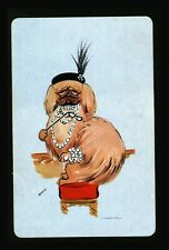 1 Playing Swap Card Us Lithograph Blank Back - Pekingese Hat & Pearls By: Connie