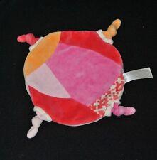 Peluche doudou plat rond HAPPY HORSE rose rouge orange 4 noeuds TTBE