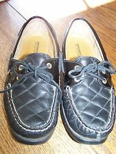 Womens Sperry Topsider Black Quilted Leather Sandals Size 9 Casual Boat Shoes
