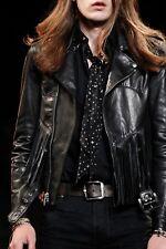 Saint Laurent Hedi Slimane SS15 Fringe Black Leather Biker Jacket sz 44