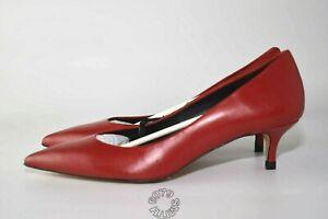 Zara Red Leather Kitten Heeled Shoes BNWB Size UK4 - EU37