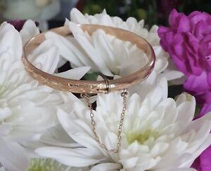 9ct Rose Gold Diamond Cut Bangle Bracelet Gold Carat 9k Not Scrap