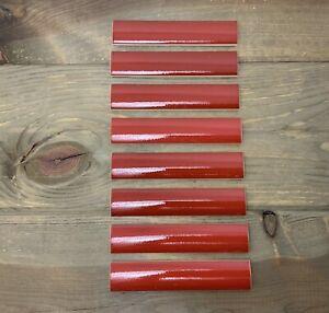 8 Gloss Red Incepa Ceramic Pencil Tiles Sizzle Strip Subway Tile Brazil NOS