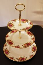 Royal Albert Old country roses afternoon tea/cake stand Parkinsons UK charity