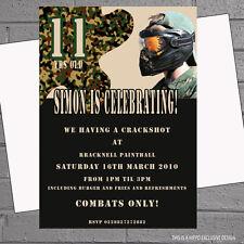Paintball paintball anniversaire activité fête invitations x 12 + env splat H0281