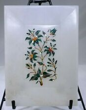 """Vintage Soap Stone Soap Holder Tray Plant Floral Inlay Design 7 1/8"""" x 5 1/4"""" JP"""