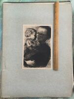 Powerful KATHE KOLLWITZ Mutter Und Kind  Etching Early 1900s Germany Print ART