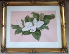 "Cross Stitch Picture ~ ""MAGNOLIA"" ~ Matted and Professionally Framed ~ 16"" x 20"""