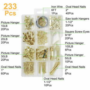 Heavy Picture Hanging Duty Frame Hooks with Nails,  Wires,Assortment Kit,233 pcs