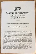 Boots Scheme of Allowances H.M Armed Forces 1942 WW2 | Company Statement