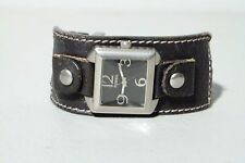 WOMENS FOSSIL SQUARE WIDE BLACK LEATHER BAND WATCH JR 9795