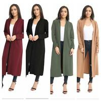 Ladies' Women's Long Sleeve Longline Crepe Open Cardigan Long Top PLUS SIZE