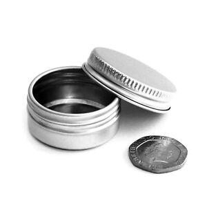 10ml Small Round Aluminium Screw Lid Tins Pots Jars Container Storage Sample JFA