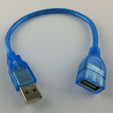 New Short USB 2.0 A Male To A Female M/F Extension Extender Cable Cord Blue 25cm