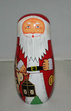 Matryoshka /  Babushka  Santa Claus Nesting Dolls - with Lamp & Reindeer Design