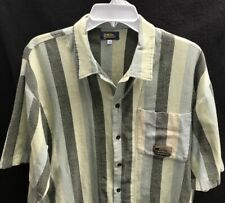 Vtg Quicksilver 100% Soft Cotton Button Striped Shirt~Lrg~Made In The Usa~
