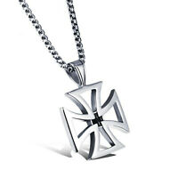 Knights Templar Cross Pendant Necklace Men Stainless Steel Jewelry Charm Chain