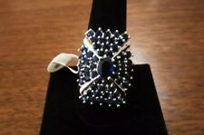 BEAUTIFUL SIMULATED BLUE SAPPHIRE CLUSTER RING SIZE 8