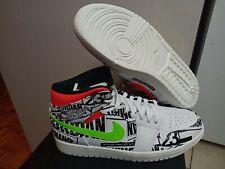 separation shoes 27772 88f92 Nike Mens Air Jordan 1 Mid All Over Logos Print White Black Green Red  554724-