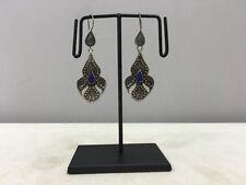 Dangle Earrings Middle Eastern Earrings Etched Sterling Silver Lapis