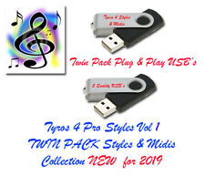 Yamaha Tyros 4 Pro Midis with Styles. New for 2019. Vol 1 and 2 Twin Pack USB.