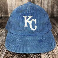 Vintage Kansas City Royals Corduroy Hat Strapback KC Adjustable Baseball Cap OSF