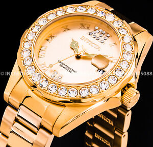 Invicta Women PRO DIVER Crystal Accented ROSE GOLD Plated SS Bracelet Watch