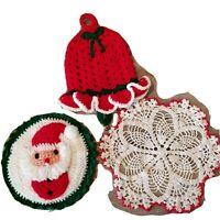 Vintage Christmas Handmade Doilie Hot Pads Knitted Yarn Santa Bell 3 Pieces