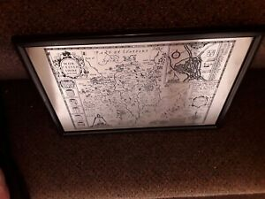 Worcestershire deferibed metal etched map of the local area in a black frame