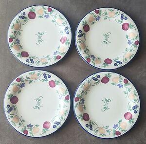 "Set of 4 Princess House Orchard Medley 10-1/2"" Dinner Plates"