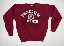 Vintage 90's University of Firenze Italy Crewneck Sweatshirt Size Adult M/L Red