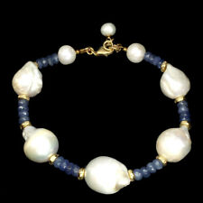 Bewitching Top Rich Blue Violet Tanzanite Baroque Pearl 925 Silver Bracelet 8.5