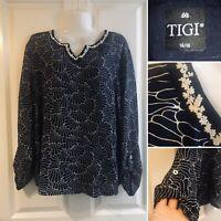 Tigi Short Sleeve Atlantis Fish Print Top Shirt Size 10//12 Uk BNWT RRP £31 Royal