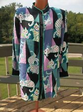 BOB MACKIE Wearable Art Silk Blouse Cat Design Long Sleeved Collared Size Large