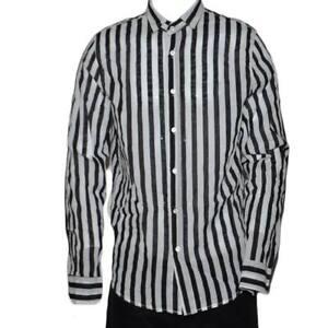 Camicia Uomo Casual Collo Coreano Fantasia Rigata Righe Maniche Lunghe Moda Giov