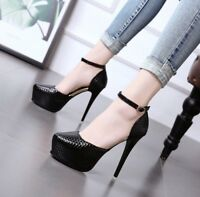 Women's Ankle Strap Very High Heels Round Toe Platform Buckle Casual Pumps Shoes