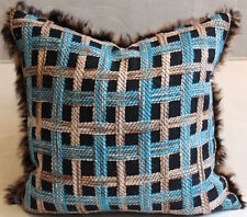 """Throw Pillow Made from Chanel Black and Blue Tweed and Rabbit Fur Trim, 19"""" sq"""